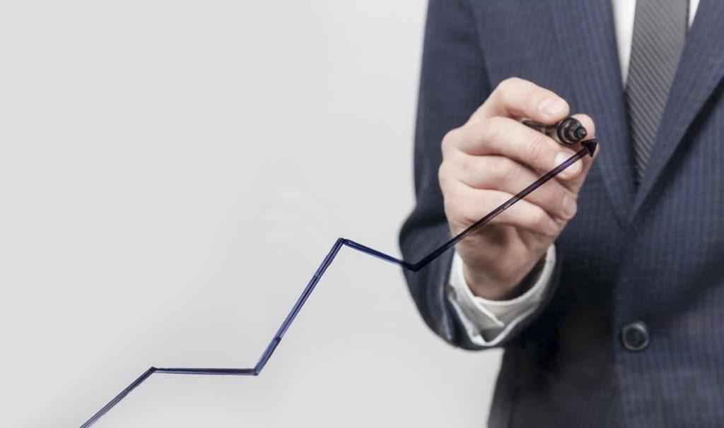 Gráfico em movimento crescente